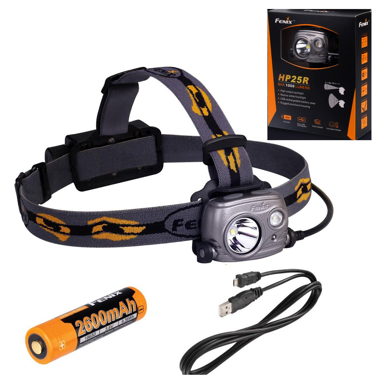 Fenix HP25R Rechargeable LED Flashlight 1000 Lumen Headlamp, Spotlight Flood-Beam Red-Light with 18650 Rechargeable Battery and LegionArms USB charging cord