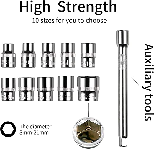 Drive Socket Set with 10 Sockets 8-14,17,19,21mm and 2 Way Quick Released Ratchet Handle and Extension Bar Egofine 12pcs 3//8 Inch Ratchet Socket Wrench Set
