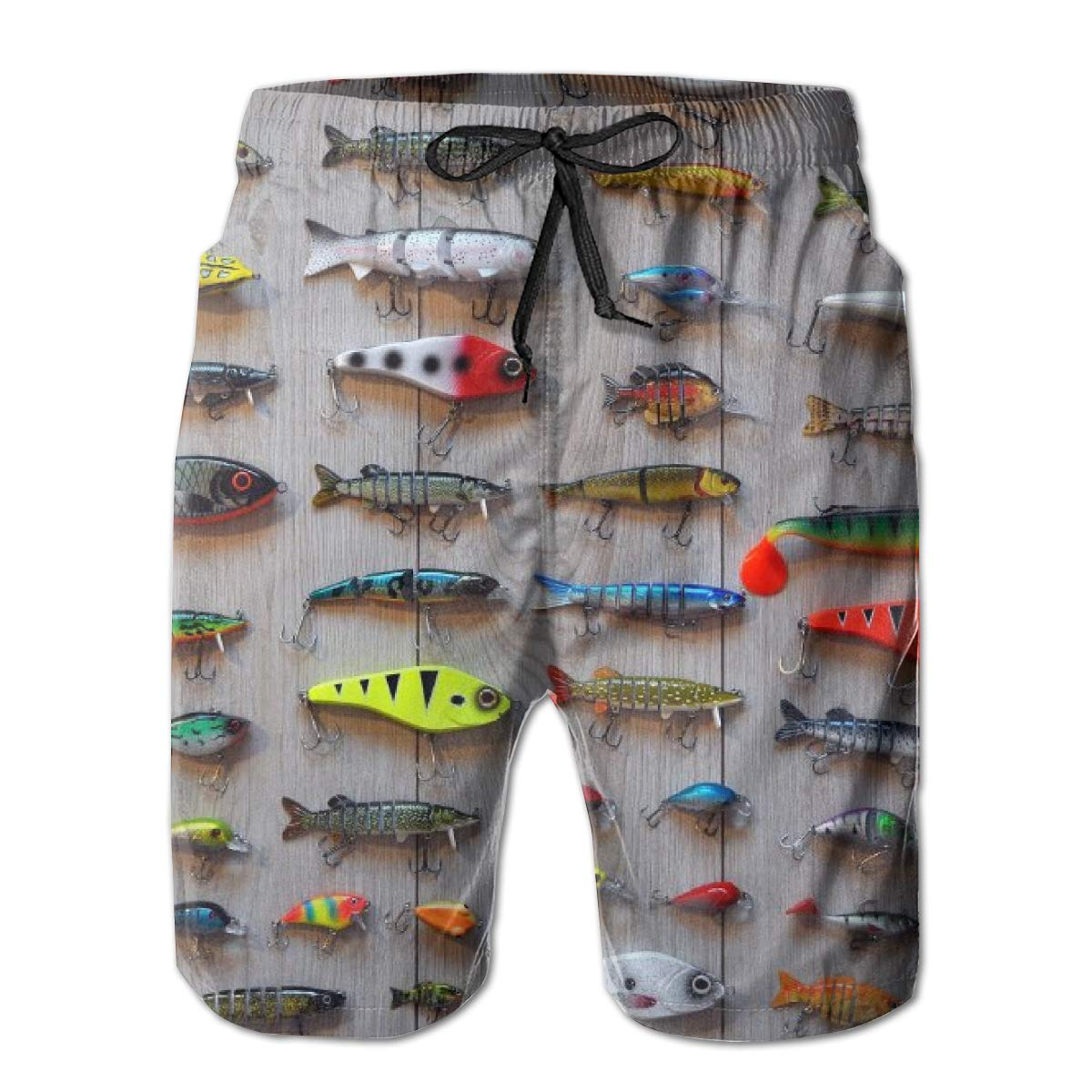 KIENGG Mens Swim Trunks with Mesh Lining Pockets The Best Bait for Fishing Boys Polyester Board Shorts Swimwear