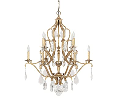 Capital lighting 4180ag cr blakely 10 light chandelier antique gold finish with clear