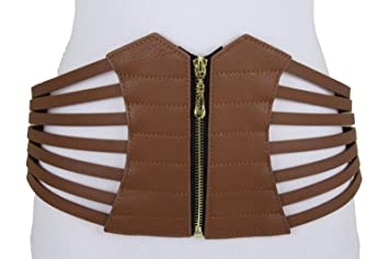 e1a8a324093 Image Unavailable. Image not available for. Color  Women Wide Corset Belt  High Waist Hip Brown Elastic Faux Leather Plus L XL XXL