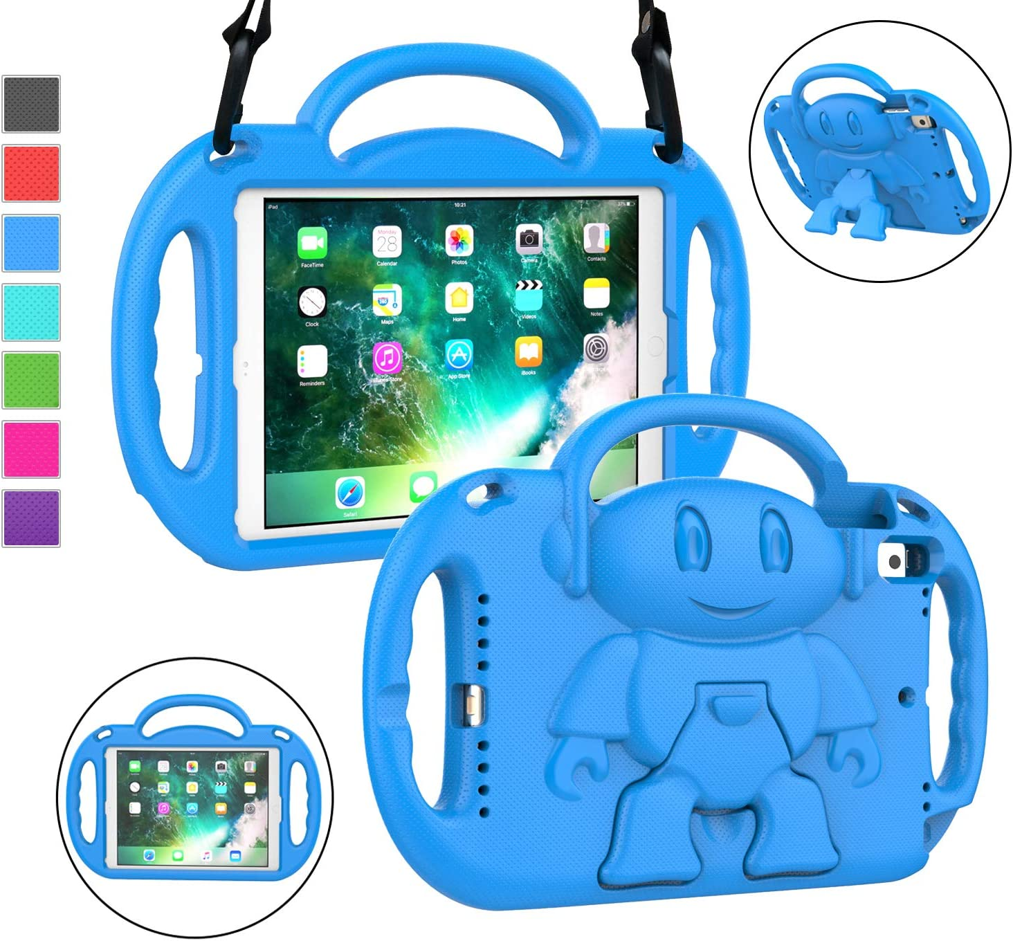 LTROP iPad 6th Generation Case, iPad Case 2018, iPad 9.7-Inch Case - Light Weight Shock Proof Convertible Handle Stand Kids Case for 9.7 inch Apple iPad 5th & 6th Gen Model A1893 A1954 A1822 - Blue