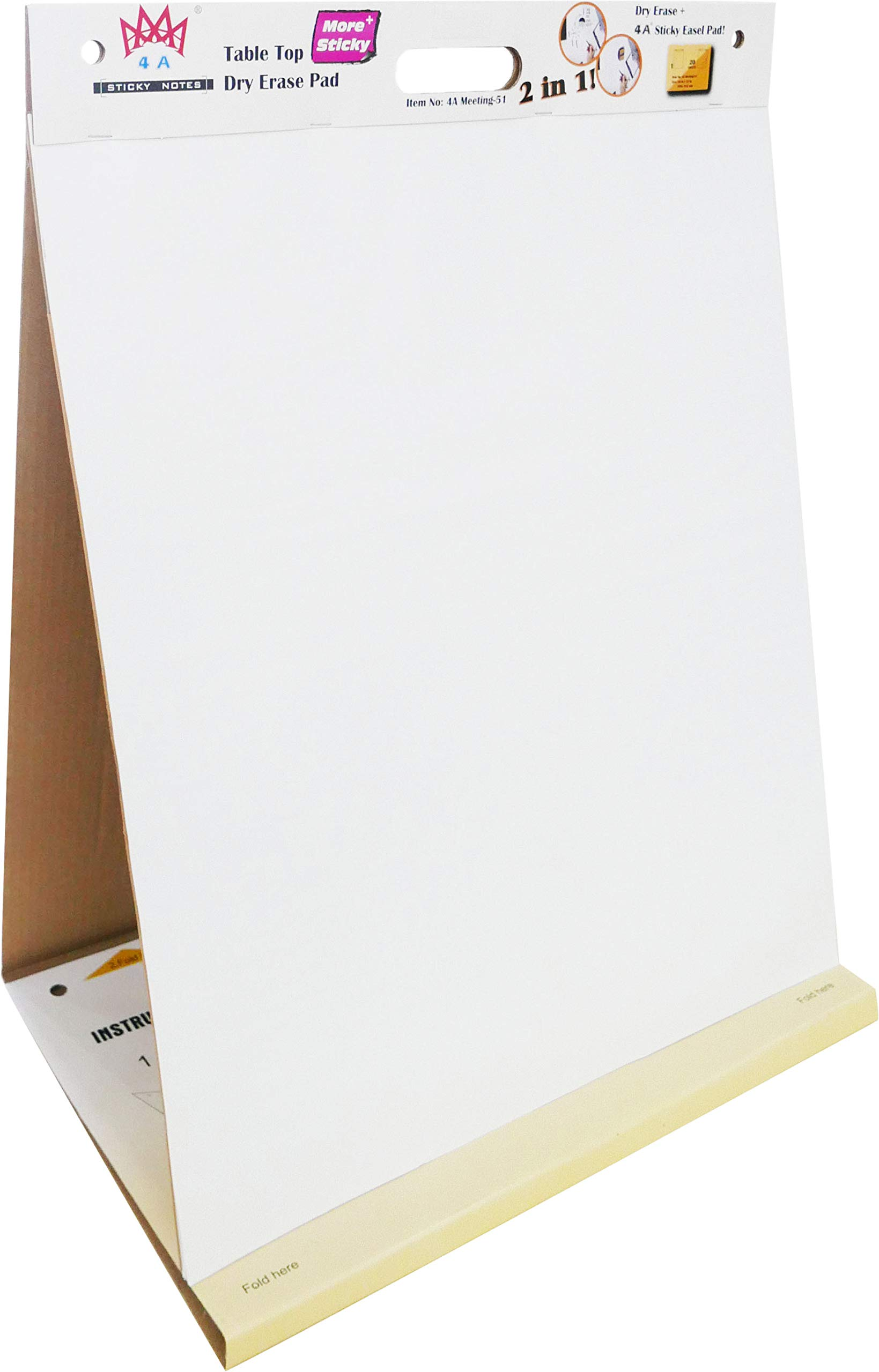 4A Super Sticky Table Top Dry Erase Pad + Easel Pad 2 In 1, Meeting Pad,Portable White Premium Flip Chart Paper,Self-Stick Built-in Easel Stand,20 x 23 Inches, 20 Sheets/Pad,1 Pad,4A Meeting-51