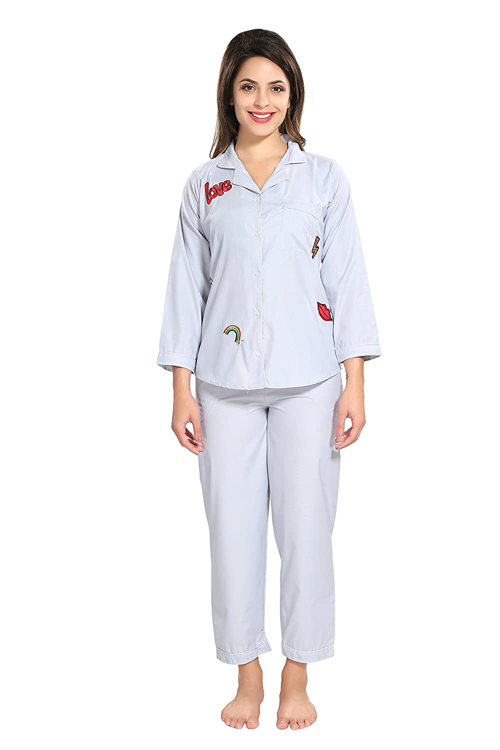 f1c1b887df PIU Women's Cotton Plain with Printed Patches Full Sleeve Night Suit Set  (Light Blue, Medium): Amazon.in: Clothing & Accessories