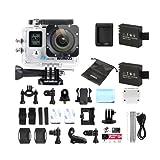 WiMiUS Q4 Caméra Embarquée Sport Wifi 4k Full HD 16MP Action Cam Boîtier Etanche 40M Kit d'accessoires + 2 Batteries (Argent)