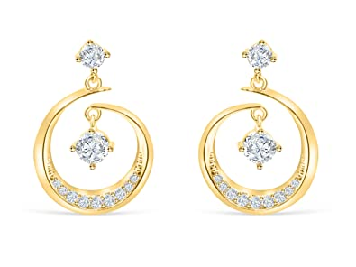 14K Gold Plated Simulated Diamond Studded Dangle Earrings For Womens Girls Jewelry