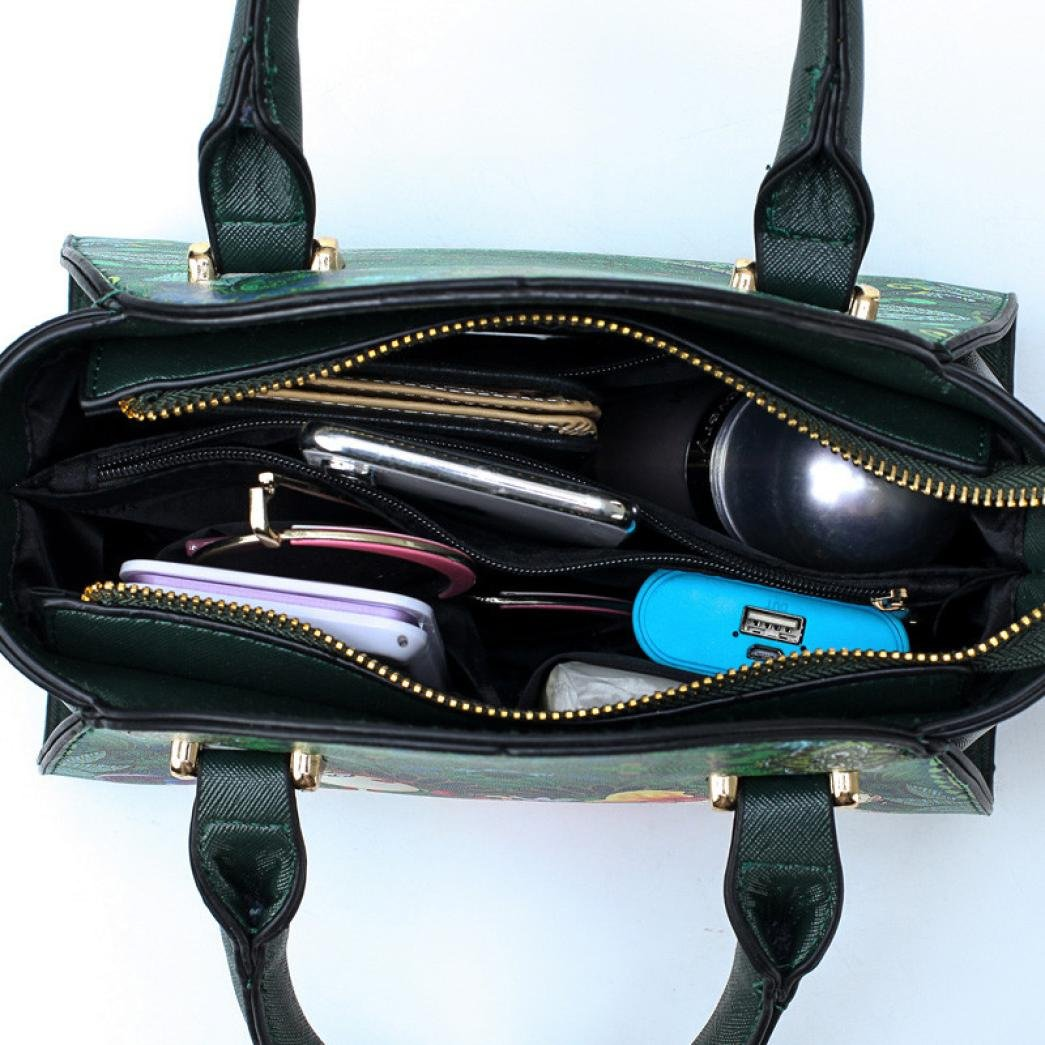SanCanSn Crossbody Bags, Women Forest Girls Pattern Printing Single Shoulder Bag Handle Zipper Handbag (1PC, Green) by SanCanSn (Image #4)