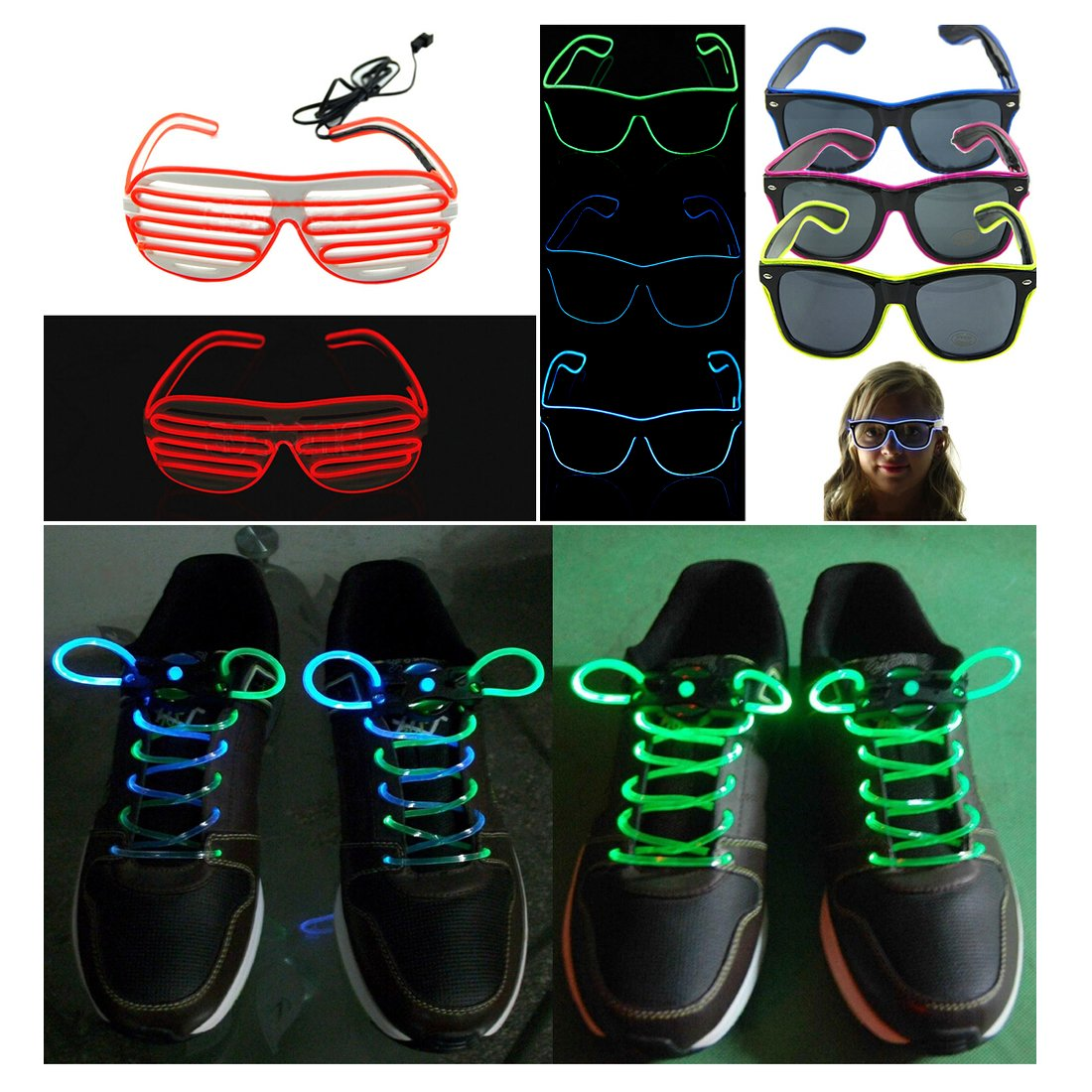 Glowing//Strobing Electroluminescent LED Strips Fluorescent Green Colors Oweisong Ultra Brightness 3M 9ft 3V EL Wire Rope Lights Decoration Flexible Neon String Light