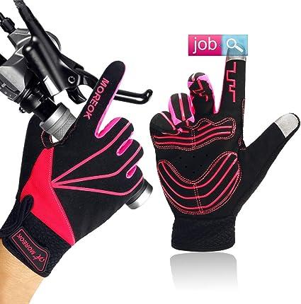 Mountain Bike Gloves Full Finger Cycling Shockproof Long Finger Sport Gloves Red