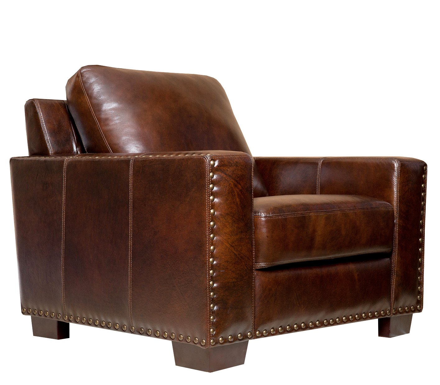 Amazon.com: Abbyson® Beverly Hand Rubbed Leather Armchair, Brown: Home U0026  Kitchen