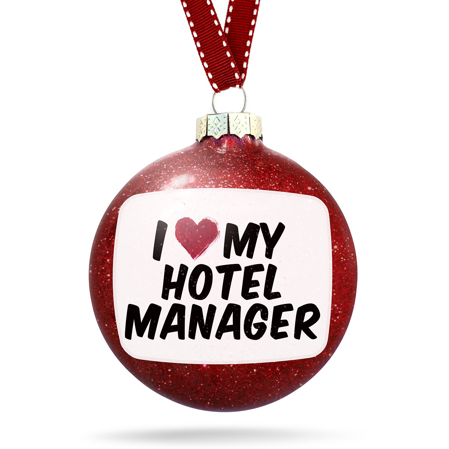 Christmas Decoration I heart love my Hotel Manager Ornament
