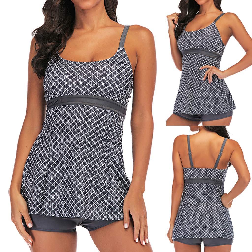 XUEJIN Womens Slimming Tummy Control Swimdress Swimwear Long Torso Tankini Swimsuit Retro Skirt Swimming Suit for Women