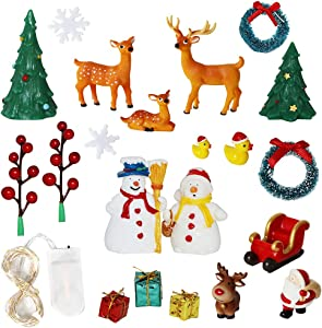 Christmas Fairy Garden Accessories – DIY Christmas Miniature Flower Garden Ornaments Kit with light Snowman Santa Deer Tree Figurines Indoor Outdoor Christmas Garden Gifts Micro Landscape Decor
