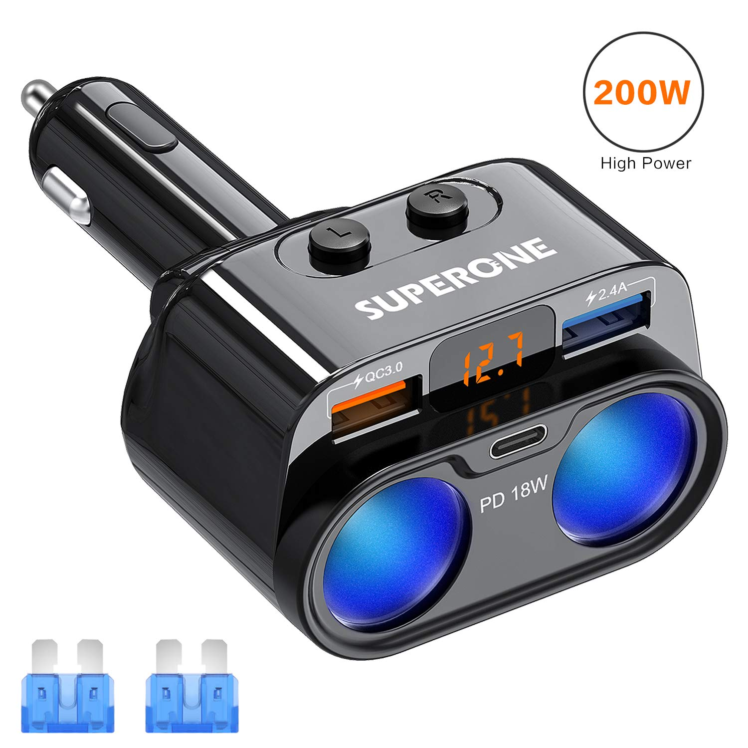 SUPERONE 200W 2-Socket Cigarette Lighter Splitter Power Adapter, USB C Car Charger with 18W Power Delivery 3.0 & Quick Charge 3.0 for iPhone 11/11 Pro/X/8/7/6, Samsung, Google Pixel and More by SUPERONE