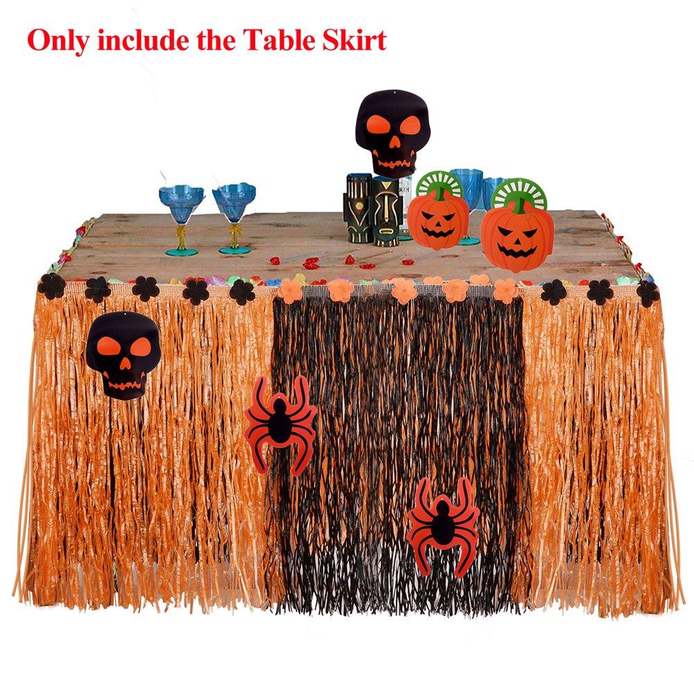 PChero 9ft Halloween Grass Table Skirt + 12pcs Halloween Cutouts (Skull & Spider & Pumpkin Patterns), Hawaiian Style Party Table Skirt for Beach Luau Birthday Themed Party