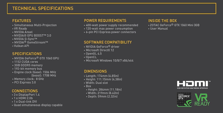 Zotac GeForce GTX 1060 1152 NVIDIA CUDA Cores Mini 3 GB GDDR5 Graphics Card  - Black