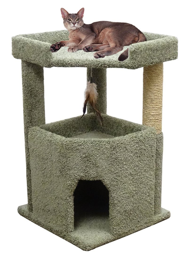 Carpet Cat Condo One Story For Big Cats with Large Bed & Scratching Post Green Carpet
