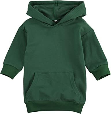 Toddler Baby Girl Casual Hoodie Sweatshirt Dress Tunic Solid Long Sleeve Hooded Pullover Top Fall Winter Clothes Outfits
