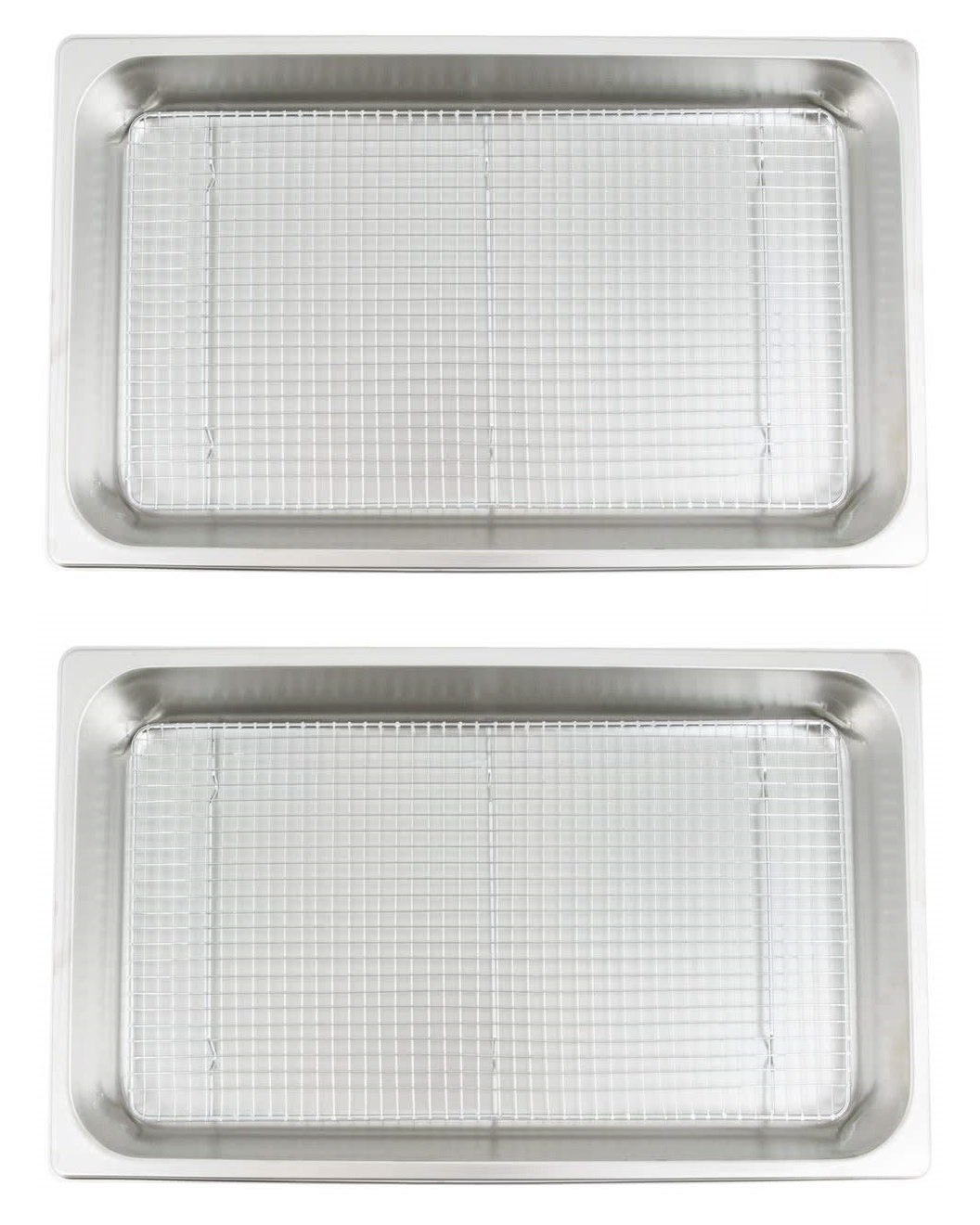 Commercial Grade Full Size Pan and Cooling Rack/Pan Grate Set for Standing Heat Lamps