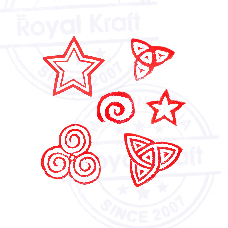 Royal Kraft Tatuaje Madera Bloque Tradicional Estrella Swirl Forma Impresi/ón Sellos Set de 6