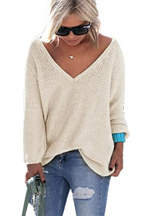 06a9466a303f Monissy Femmes Pulls Automne et Hiver Fashion Lâche à Manches Longues Pull  Col V Pull Sexy