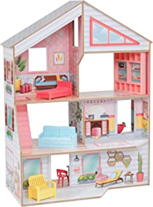 KidKraft Charlie Dollhouse with 10-Piece Accessory Set, Multicolor