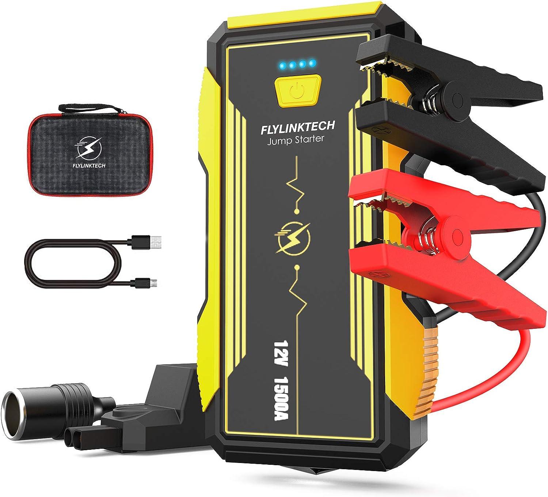 FLYLINKTECH 1500A Arrancador de Coches, 16000mAh 12V Arrancador Baterias Coche Moto (hasta 8000cc Gas y 6000cc Diesel) Banco de Energía Luces LED Rojas y Azules