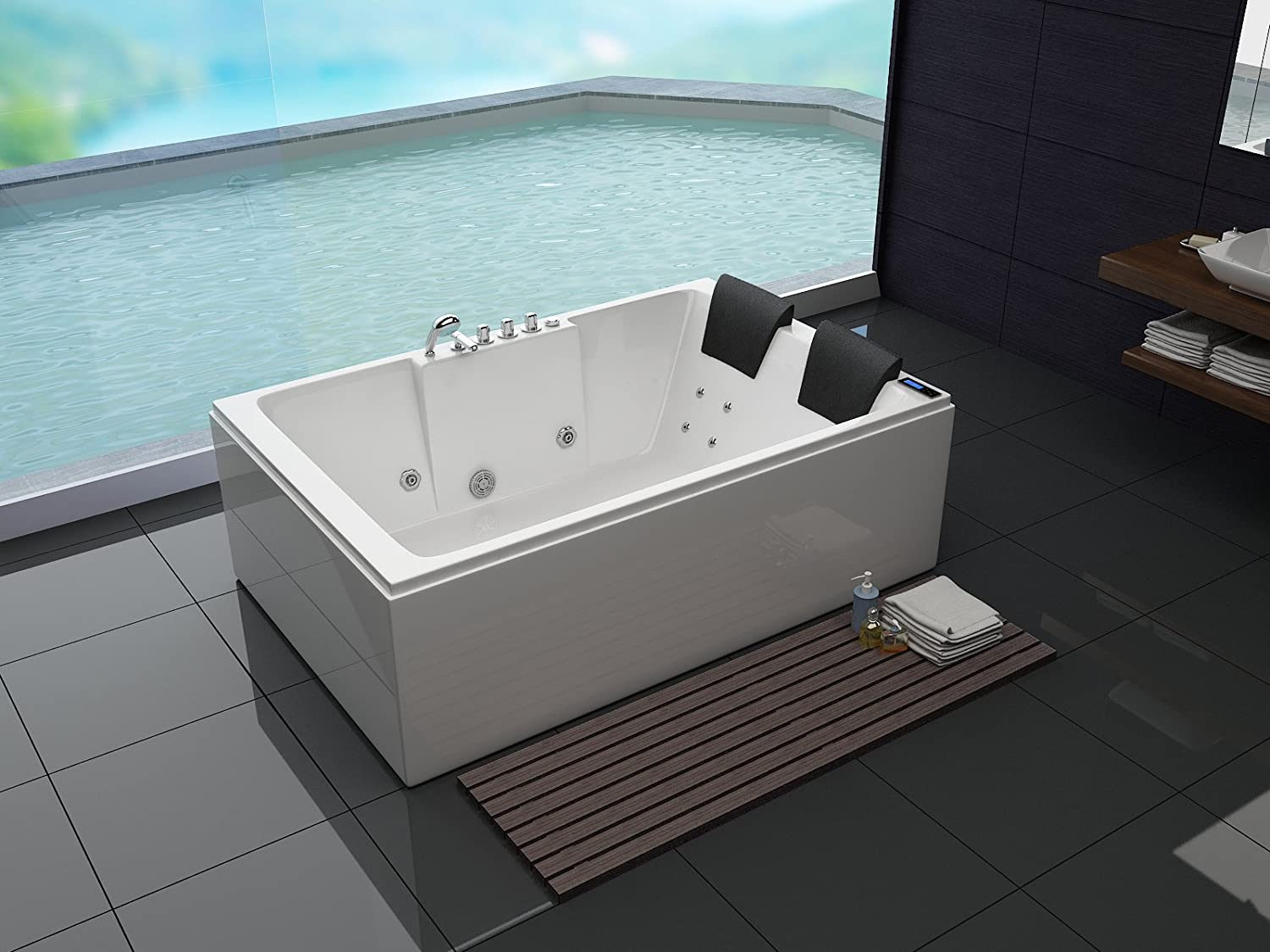 Whirlpool Bad Accessoires : Luxus whirlpool badewanne 180x120 in vollausstattung massage