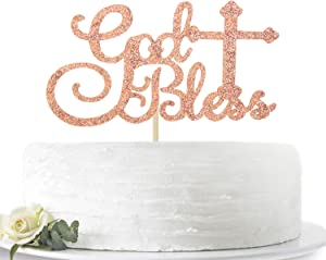 Rose Gold Glitter God Bless Cake Topper for Baptism Christening Dedication/First Communion Baby Shower Party Decoration Supplies