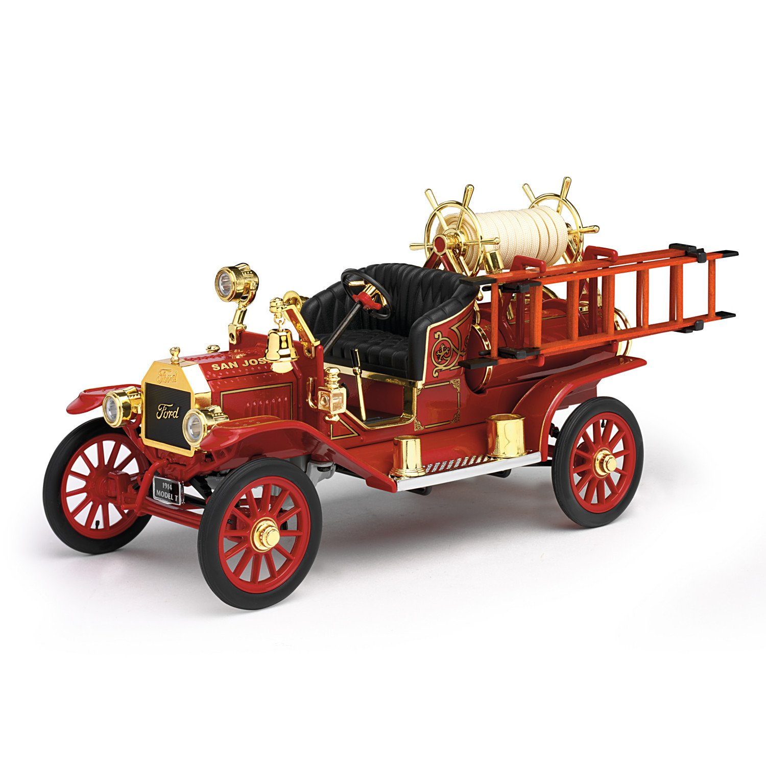 1:18-Scale Ford Model T 1914 Fire Engine Diecast Truck With Fire Hose Accessories by The Hamilton Collection