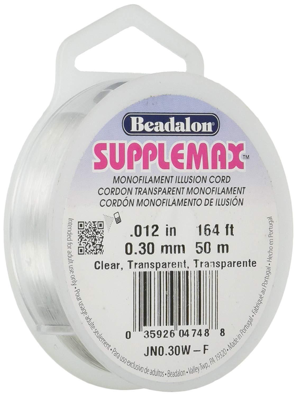164 ft Clear Monofilament Illusion Cord, 50 m Beadalon Supplemax 0.30 mm Nylon Bead Stringing Material 0.012