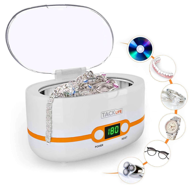 Limpiador por Ultrasonidos, Tacklife-MUC02 Limpiador Ultrasónico Multifuncional de 600ml, Con Cesta de Limpieza, Profesional Limpiador para Joyas, Gafas, Dentaduras y Piezas Metálicos