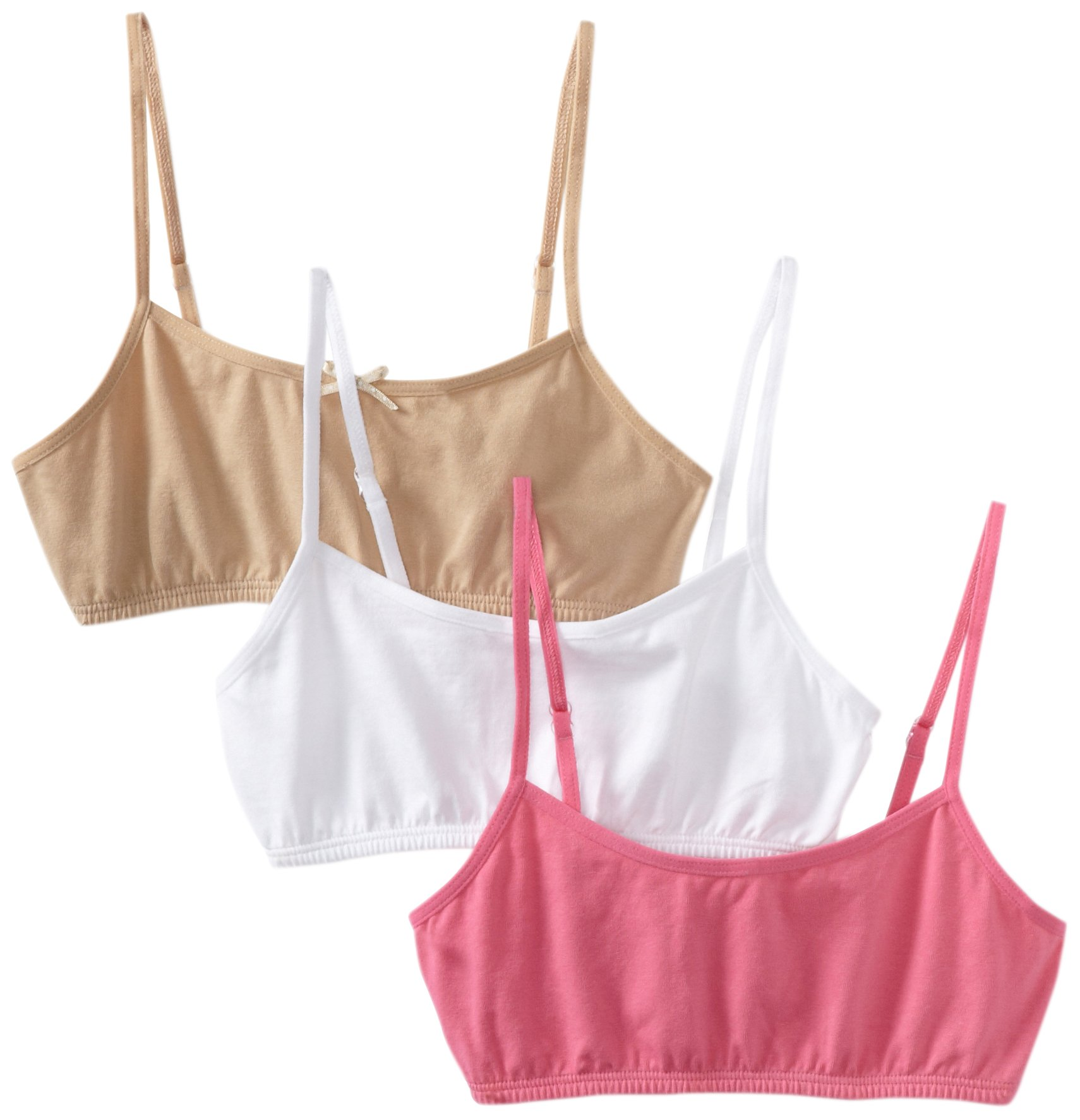 Maidenform Big Girls'   Crop Bra (Pack of 3), White/Nude/Pink, Medium