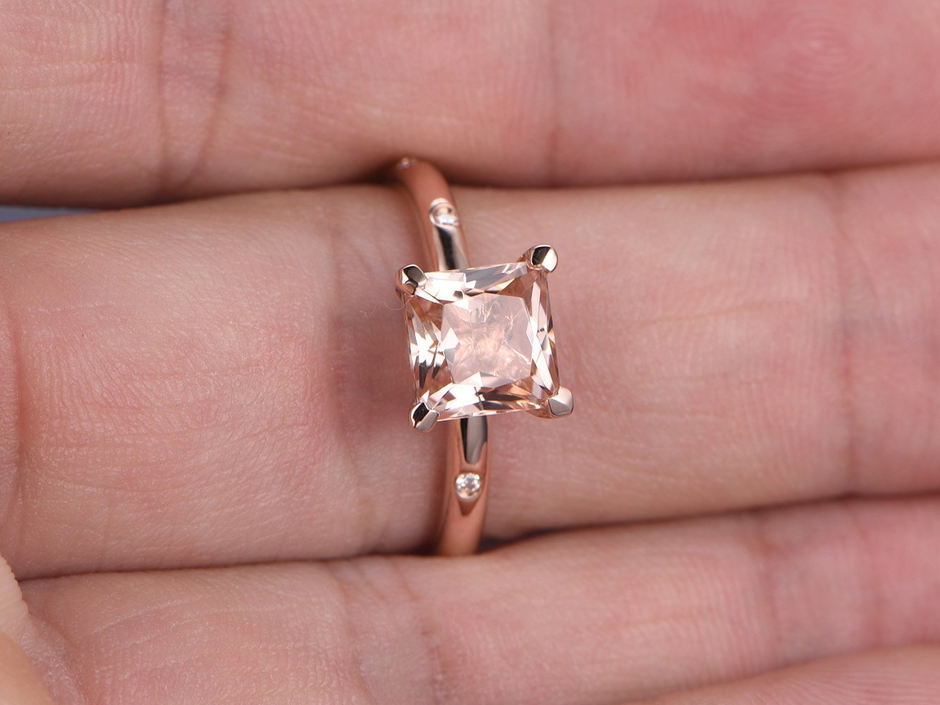 Amazon.com: 7mm Natural Princess Cut Pink Morganite Engagement Ring ...