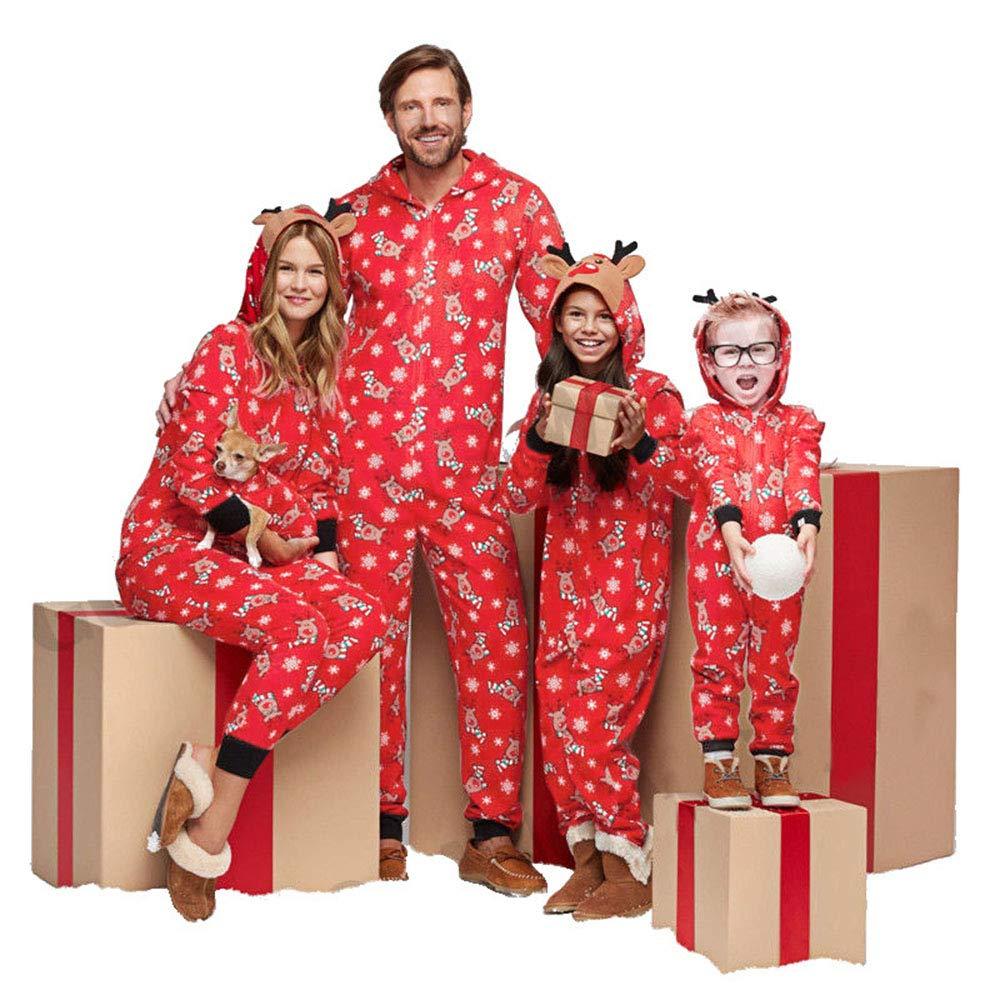 beautyjourney Famiglia Pigiami Natale Pigiama Bambina Natale Intero Maniche Lunghe Ragazzi Pigiama Donna Ragazze Uomo Intero Natale Camicie da Notte Invernali Donna Famiglia Pigiama Natale