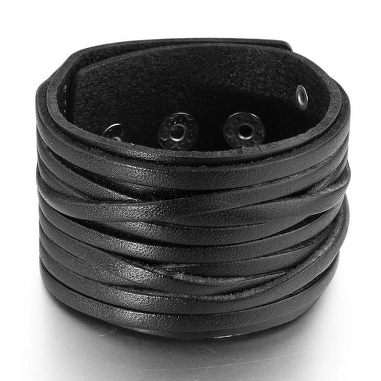 Amazon: Inblue Men's Large Alloy Genuine Leather Bracelet Bangle Cuff  Black Silver Punk Rock Adjustable Fit 7~9 Inch: Link Bracelets: Jewelry