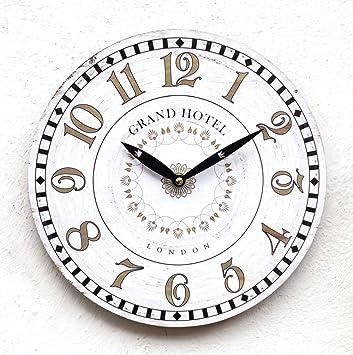 Uhr Wanduhr Küchenuhr Braun Modern Landhausstil Design Weiß Klassisch Deko  Antik Shabby Küche KOP