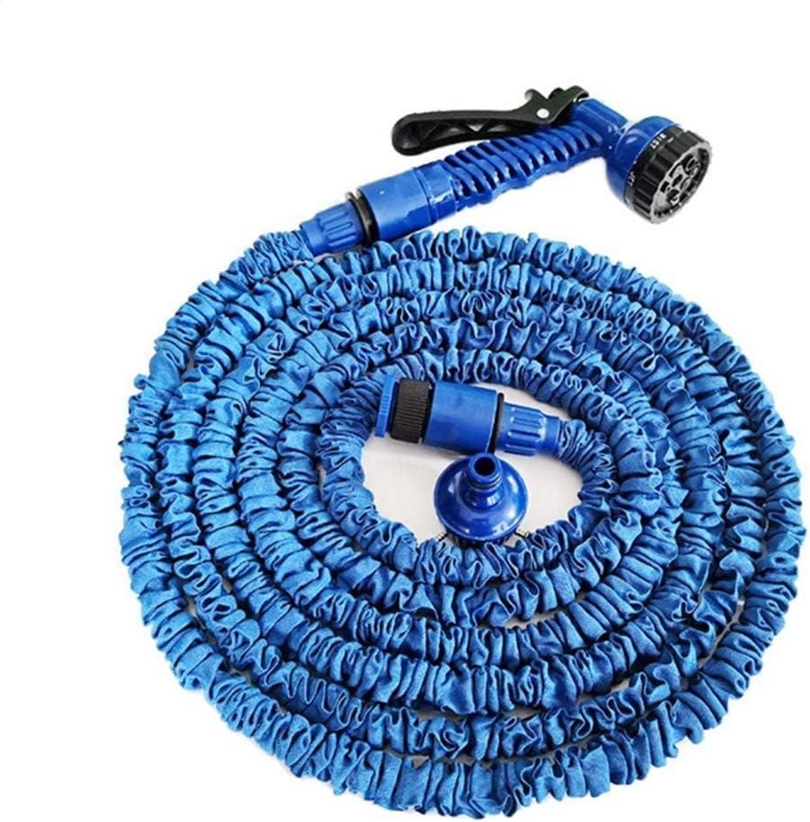 ZHX Extensible de la Manguera del jardín de la Pipa de Agua Pistola 7 función Pistola 3 Veces expandiendo Flexible Ligero Ducha Manguera de Agua para Lavar Coche/irrigación/Limpieza,Blue,25ft: Amazon.es: Hogar