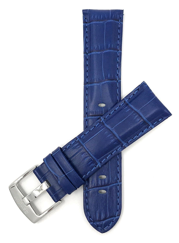 18 mm – 26 mm Mens ' Alligatorスタイル本革時計ストラップバンド、Comes inブラック、ブラウン、ブルー、レッド、タンとダークタン 22MM ブルー 22MM ブルー ブルー 22MM B01B2HPYY6