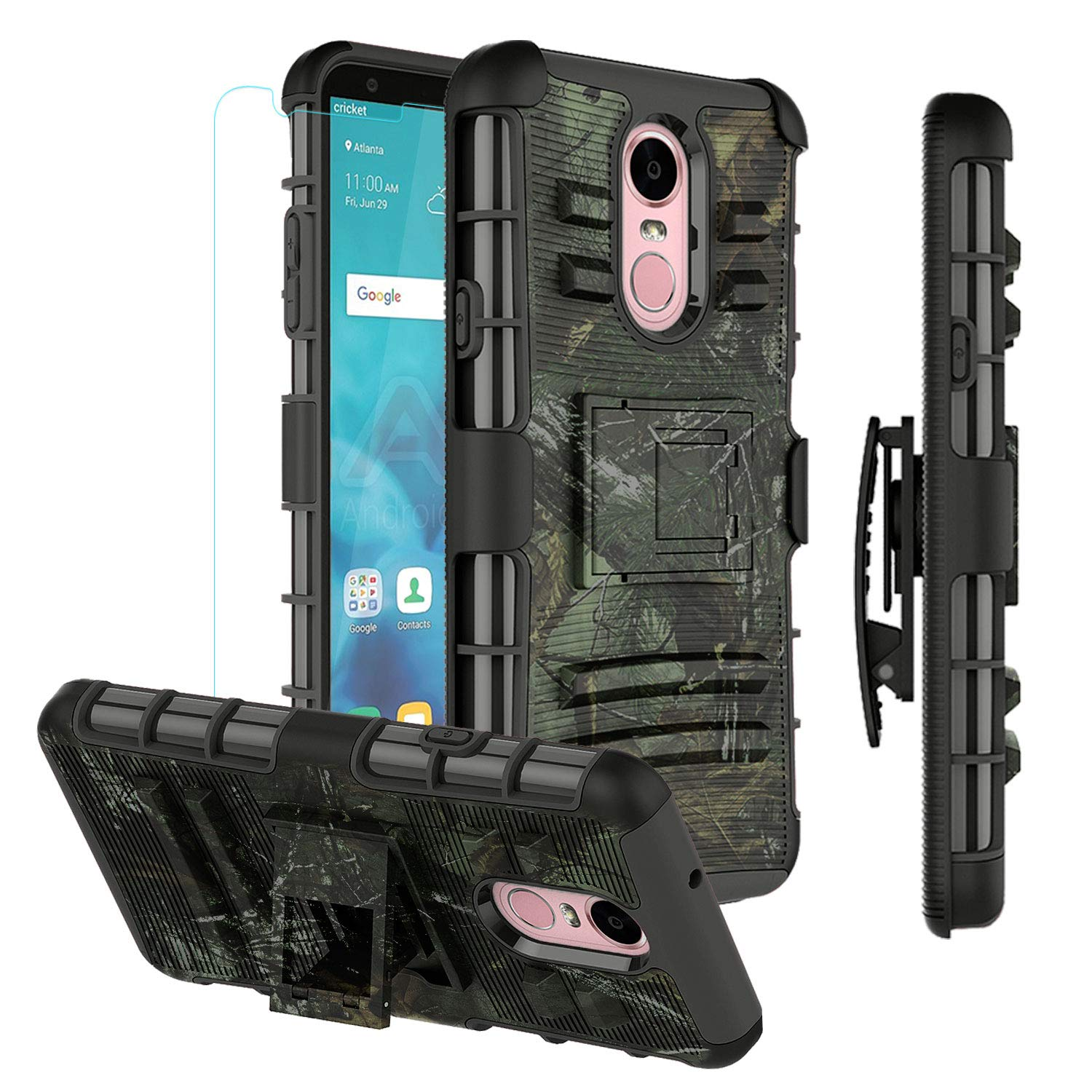 LG Stylo 4 Case Heavy Duty,LG Stylo 4 Plus Shockproof Protective Case with Belt Clip with Tempered Glass Screen Protector,Camo