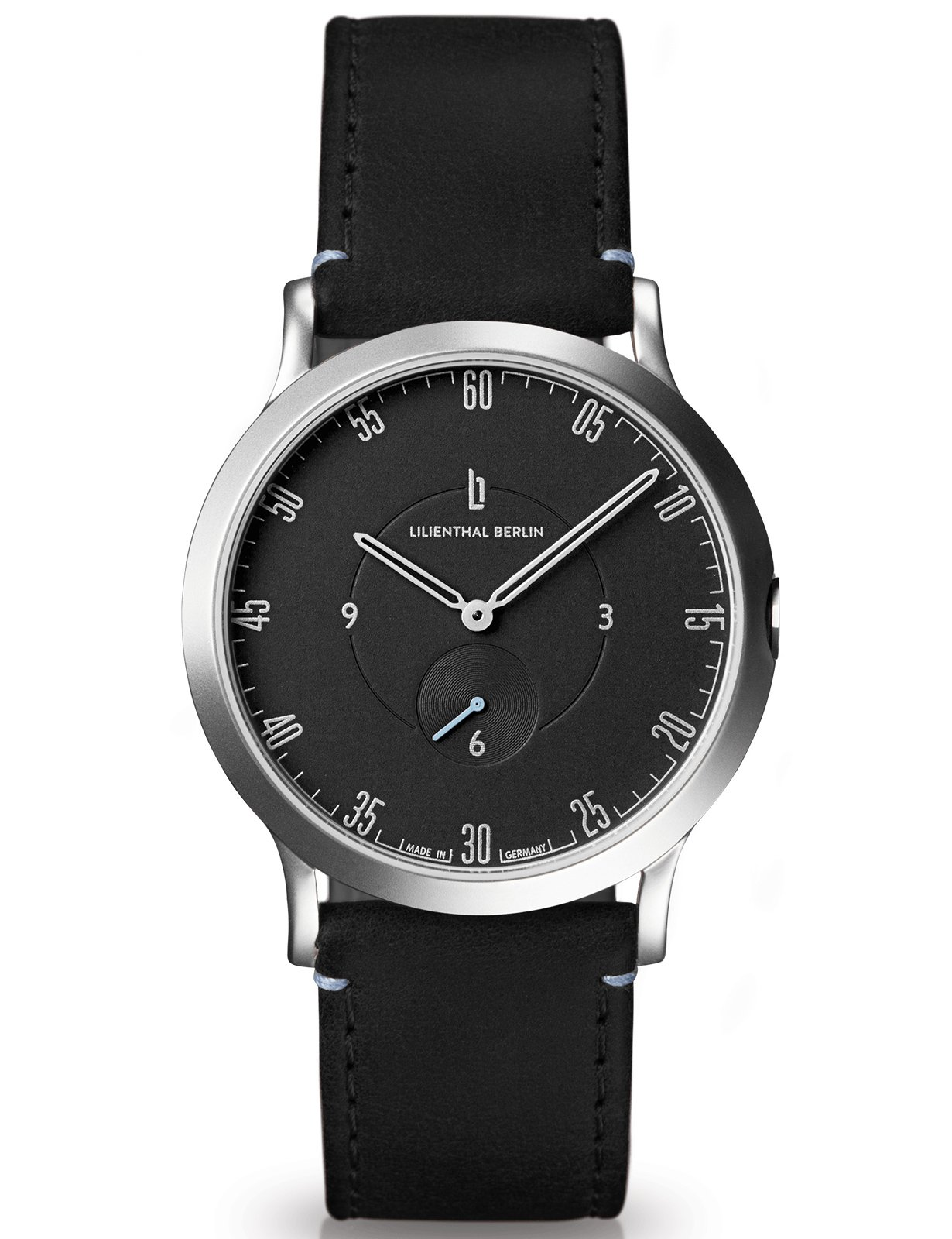 Lilienthal Berlin Watch - Made in Germany - Designed in Berlin. Model L1 with Stainless Steel Case (Size: 37.5 mm, Case: silver / Dial: black / Strap: black)