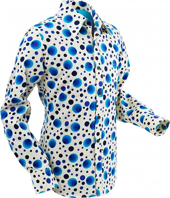Vintage Shirts – Mens – Retro Shirts 70s retro Shirt Dots&Spots Blue Retro 70s retro £38.18 AT vintagedancer.com