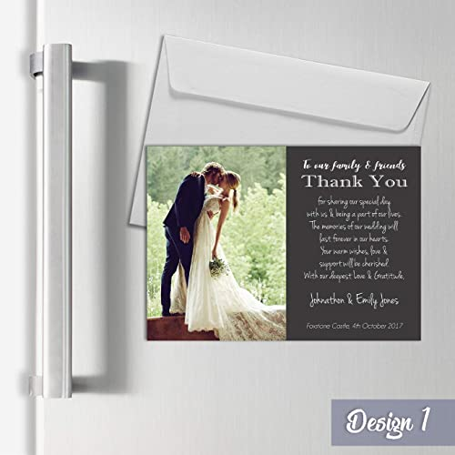 Personalised Magnetic Wedding Thank You Cards With Photo A7 Fridge