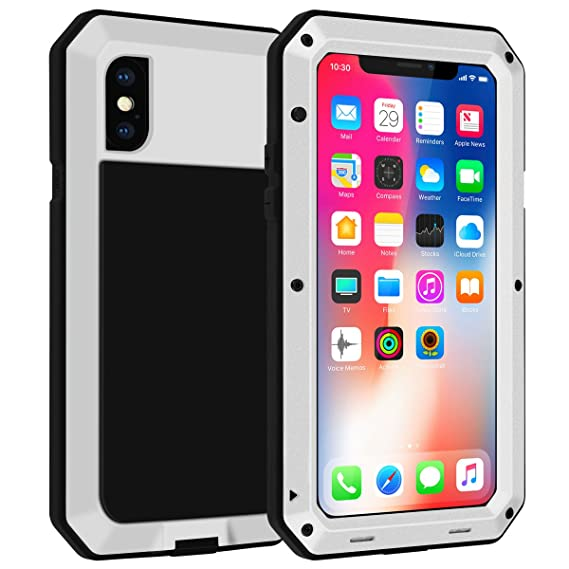 sale retailer cb355 48feb iPhone X Case,Gorilla Glass Luxury Aluminum Alloy Protective Metal Extreme  Shockproof Military Bumper Heavy Duty Cover Shell Case Skin Protector for  ...