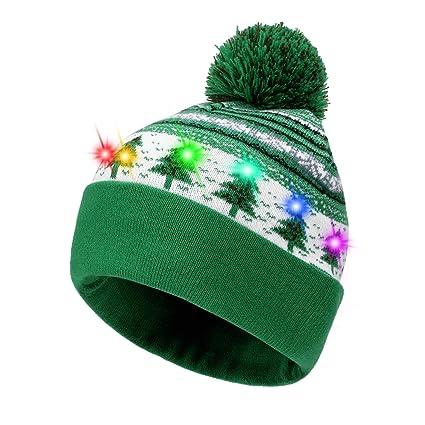 Hifot LED Light Up Bonnet Chapeau Beanie Hat Knit Cap Bonnet de Noël  Lumineux et coloré de Noël Bonnet en Bonnet tricoté (Arbre de Noël Vert)