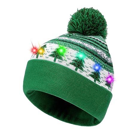 Hifot Cappello Beanie con Cappuccio LED Light Up Beanie cap di Natale  Luminoso e colorato Caldo c80813501ee3