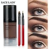 LADY Tintes para Cejas Permanentes de Maquillaje Natural Colores de Cejas en Crema Geles Líquido para Cejas con Cepillos (Marrón Oscuro)