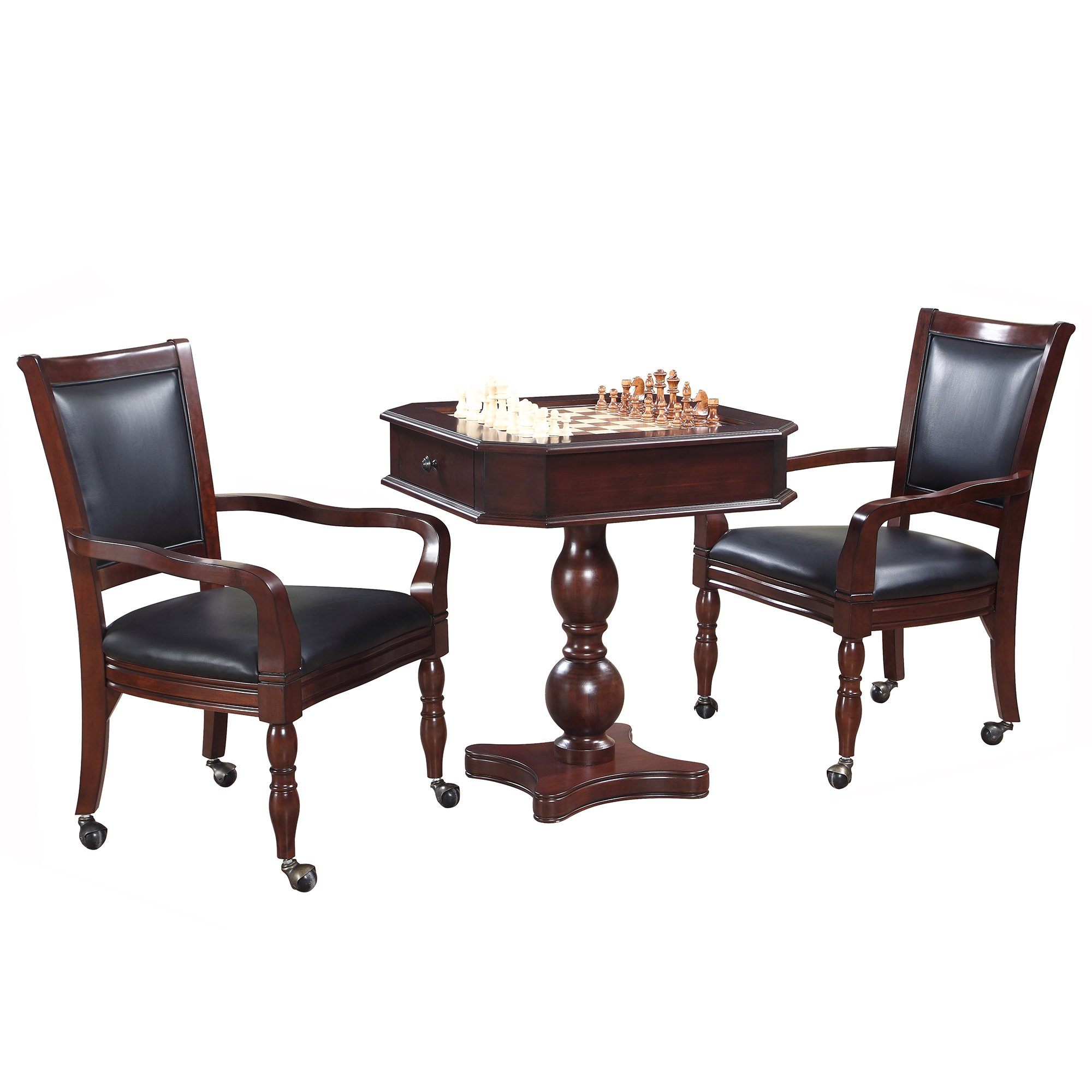 Hathaway Fortress Chess, Checkers & Backgammon Pedestal Game Table & Chairs Set - Mahogany by Hathaway