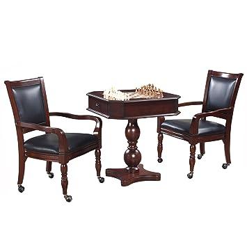Hathaway fortaleza ajedrez, damas y backgammon Juego de Pedestal mesa y sillas Set - Caoba: Amazon.es: Deportes y aire libre
