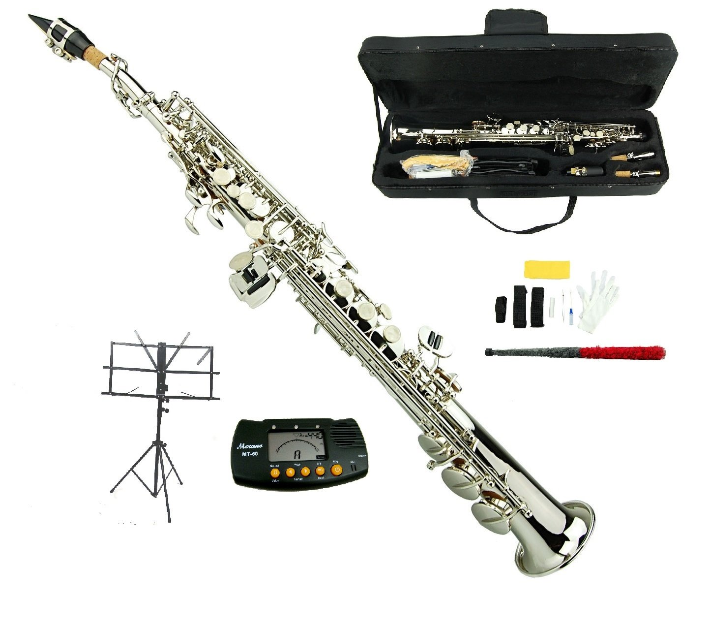 Merano B Flat Silver Soprano Saxophone,Case,Reed,Screw Driver, Nipper,A Pair of Gloves,Soft Cleaning Cloth, Music Stand, Metro Tuner GWD500SV-MT